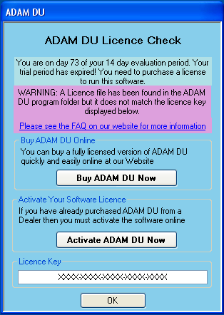 large image of an invalid licence file as it does not match your licence key
