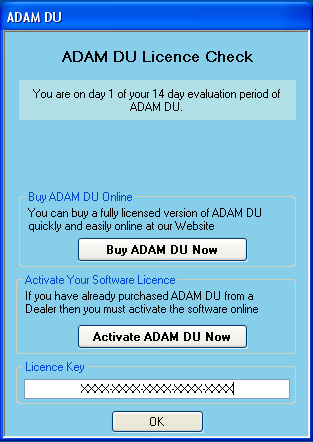 medium image showing the ADAM DU licence check information